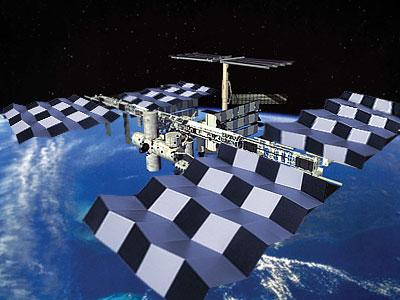 ミウラ折りを太陽電池パネルに利用した宇宙ステーション(合成写真)
